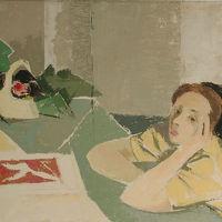 "Bernardino Palazzi ""Ragazza a tavolino"""