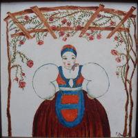 """Il costume femminile desulese è stato il più riprodotto artisticamente tra quelli sardi: ecco un esempio realizzato da un non meglio noto/a """"E. Amadu"""" su maiolica negli Anni Trenta"""
