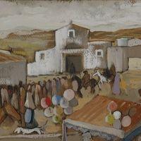 """Adolfo Orru """"Processione davanti alla chiesa"""""""